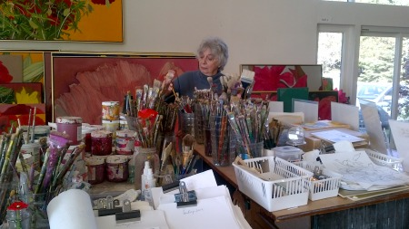 Helen Lucas Painting In Studio